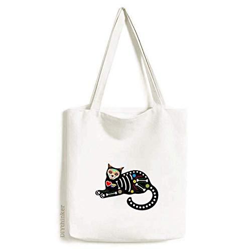 Bolsa de lona Sit Black Cat Bone Heart Halloween atmosfera terror sacola de compras casual bolsa de compras