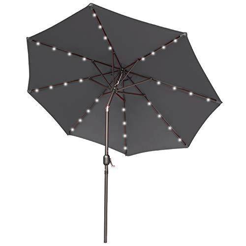 ABCCANOPY 275cm Gartenschirm Sonnenschirm neigbar mit 32 Solar-LED-Lichtern,für Garten,Deck,Schwimmbad,Sandstrand,Dunkelgrau