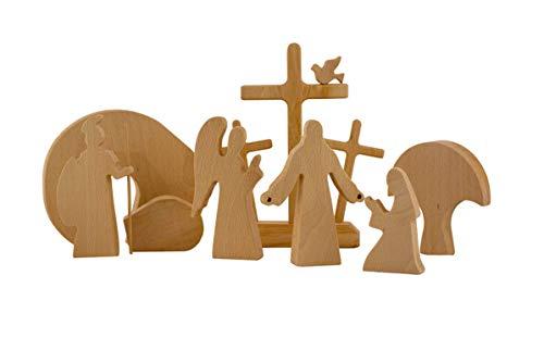 HHYSPA Resurrection Scene Wooden Decoration,Easter Decor Wooden Cross Resurrection Scene Decor,Wooden Nativity Set,Minimalist Design