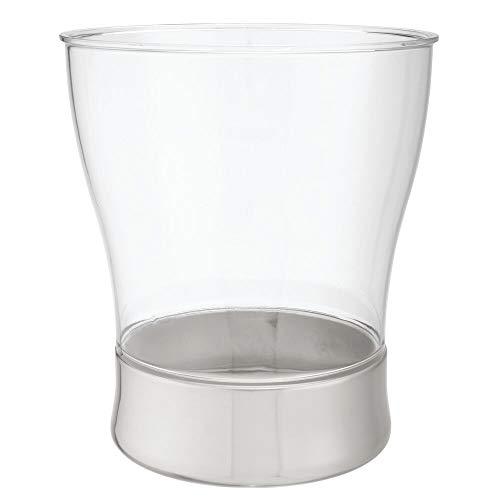 mDesign Papelera de plástico y metal redonda – Cubo de basura compacto – Papelera para baño, oficina y cocina con capacidad suficiente para residuos – transparente/plateado mate