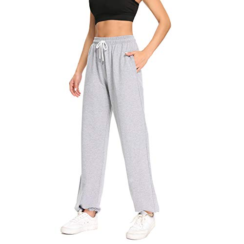CakCton Women's Sweatpants Joggers High Waist Loose Workout Lounge Drawstring Pants with Pockets (Medium, Grey)