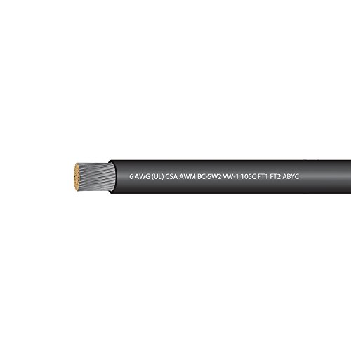 6 AWG (UL) Marine Grade Tinned Copper Boat Battery Cable 600 Volts - Black - 25 Feet - Made in USA
