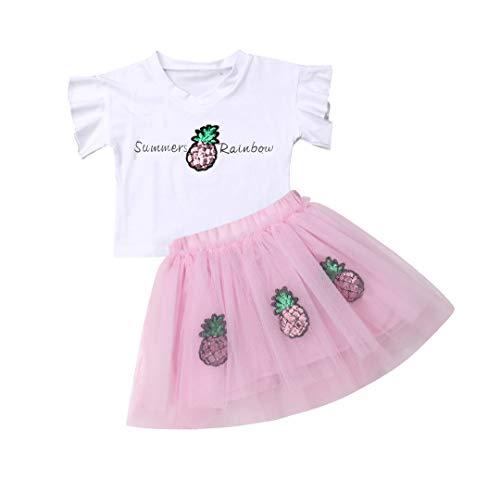 ベイビーガール チュチュ 衣装 白 明るい パイナップル 図案 半袖 ピンク スカート2枚 女の赤ちゃん キッズ ドレス (3-4歳, A)