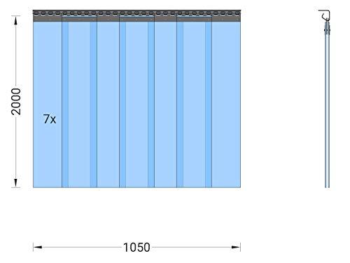 PVC Streifenvorhang Lamellen 2x200mm – H2,00 x B1,05 m – fertig vormontiert – VZ - 2