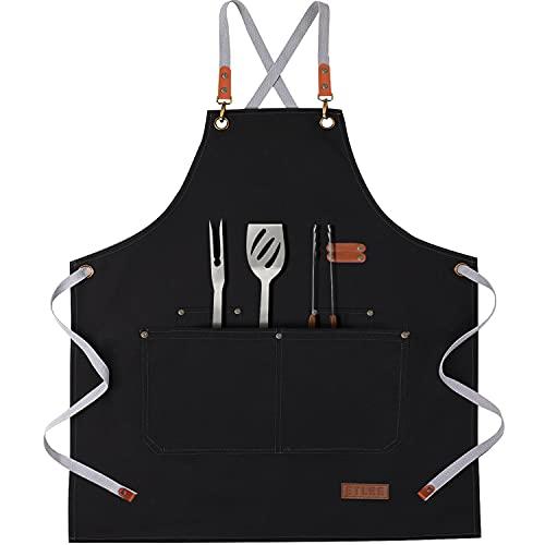 ETLEE Grillschürze Für Männer, Leinwand Kochschürze mit Taschen und Verstellbarem Gürtel Geeignet Für Küche Grill Handgemacht Backen Geschenke für Männer oder Papa