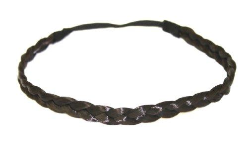 Bande de cheveux tressés/bandeau/cheveux synthétiques en noir-brun NOUVEAU