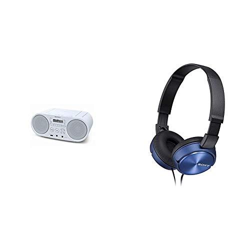 Sony ZSP-S50 CD/USB Radiorekorder (AM/FM), Weiß & MDR-ZX310L Lifestyle Kopfhörer, Blau