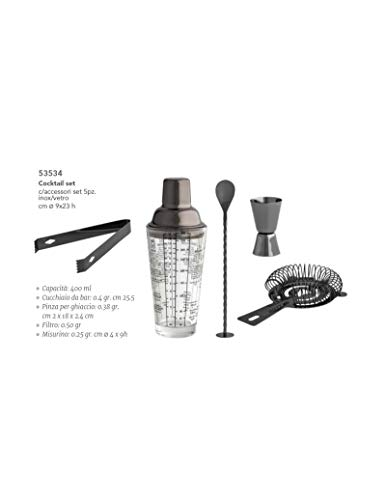 BRANDANI Cocktail Set C/Accessori Set 5 Pz Inox/Vetro