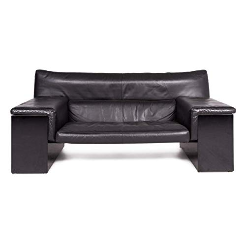 Knoll International Brigadier by Cini Boeri Leather Sofa Black Genuine Leather Two-Seater Couch
