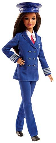 Barbie Métiers poupée pilote davion brune avec chapeau et uniforme bleu marine, jouet pour enfant, FJB10