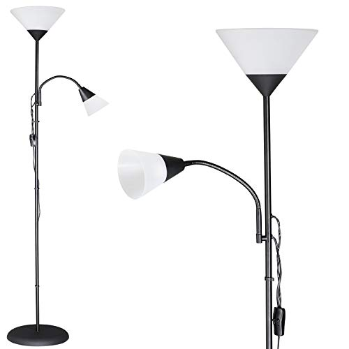 monzana Stehlampe Schwarz Stehleuchte Standleuchte E27 60W verstellbare Lampen Deckenfluter Fluter Deckenstrahler Leselampe