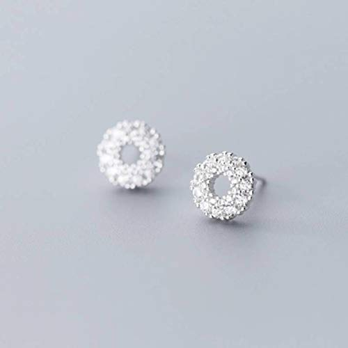 WOZUIMEI S925 Pendientes de Plata Estilo Coreano Femenino Estilo Literario Simple Lindo Círculo Pendientes Huecos de DiamantesPendientes