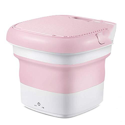 AOIWE Machine à Laver Portable Pliable Turbo, Wash Machine à Laver sous Portable for Voyage, Nettoyage Rapide à Faible Bruit Rose (Color : Pink)