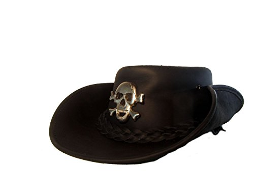 H15 Cowboyhut mit Skull - Lemmy Style Lederhut aus hochwertigem Rinderleder (L)