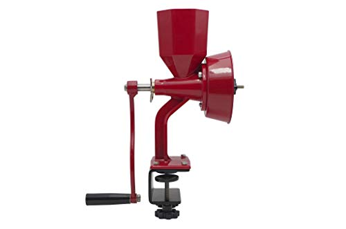 WONDERMILL - Wonder Junior Deluxe Hand Grain Mill RED - Manual Grain Grinder for Dry and Oily Grains - Kitchen Manual Grain Mill and Spice Grinder