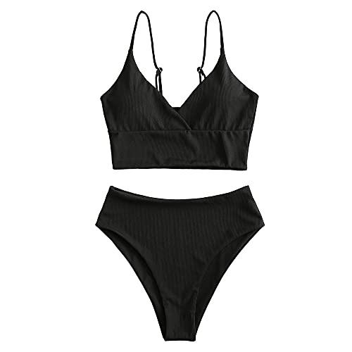 ZAFUL Women Tankini Set, Ribbed High Cut Surplice Swimsuit Bathing Suit with Spaghetti Straps (Black-Surplice,XXL)