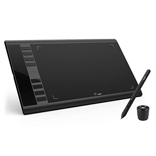 Bisofice Graphics Tablet M708,Tablero de tableta de dibujo gráfico mejorado Ugee M708 con lápiz pasivo sin batería 8192 Sensibilidad a la presión 266RPS 10 * 6 pulgadas