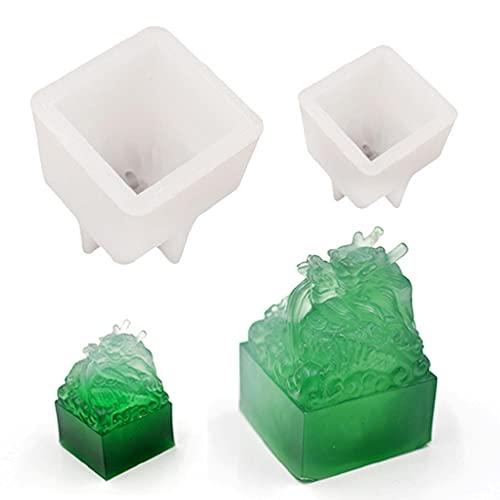YUSHU Molde de resina epoxi de cristal Cabeza de dragón Escultura de sello de jade Molde de silicona Artesanía de bricolaje Decoración del hogar Herramientas de fundición Herramientas de fabricación d