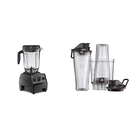 Vitamix Explorian Blender, Professional-Grade, 64 oz. Low-Profile Container, Black (Renewed) - 65542 & Personal Cup Adapter - 61724