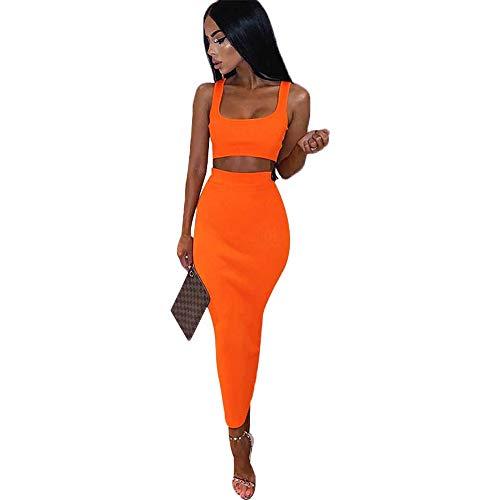 Tasty Life Damen Skinny Dress Backless Bandage Minikleid Zweiteiliges Rockset Frühling Sexy Short Top + High Waist Rock Night Club Cocktailkleid(S,Orange)