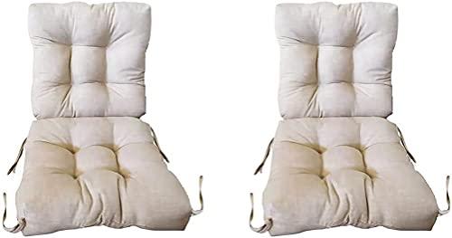Conjunto de 2 Cojines con Respaldo para sillones de Interior y Exterior. Cojín con Respaldo para Sillas de terraza. Cojines Acolchados para sillas terraza. (Beige)