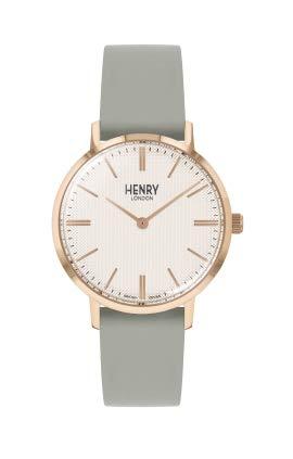 Henry London Reloj Analógico para Unisex Adultos de Cuarzo con Correa en Cuero HL34-S-0406