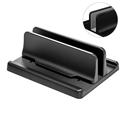Cutfouwe Laptop Stand Vertical 3 en 1 Ajustable Vertical Soporte para portatil con Base,para Ahorra Escritorio Espacio,para portátil/portátil/Tableta/teléfono de hasta 17.3 Pulgadas,Negro