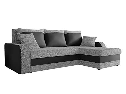 Ecksofa Kristofer Lux, Eckcouch Couch! mit Schlaffunktion, Zwei Bettkasten, Farbauswahl, Wohnlandschaft! Bettfunktion! Design L-Form Sofa! Seite Universal! (Florida 01 + Rain 14.)