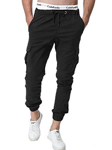 ZOEREA Jogger Cargo Herren Chino Jeans Hose Elastische Taille Gürtel mit Taschen (Schwarz(Verbesserte Version), L)