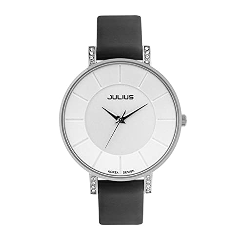 Reloj de Cuarzo Julius JA-766 con Correa de Cuero, Reloj Ultrafino Resistente al Agua, Reloj de Pulsera de Negocios Informal de Moda para Parejas de Amantes