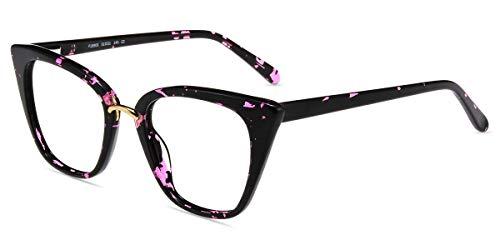 Firmoo Blaulichtfilter Brille ohne Sehstärke Damen Katzenaugen, Entspiegelte Brille Anti Blaulicht Augenmüdigkeit, Acetate Computerbrille mit UV Schutz, Retro Cateye Brille Schwarz-Lila