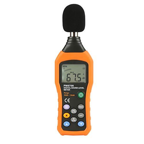 Fonometro Professionale, Akozon PM6708 Misuratore Decibel Rumore 30-130 dBA/C Display LCD dB Meter Misurae di Rumore
