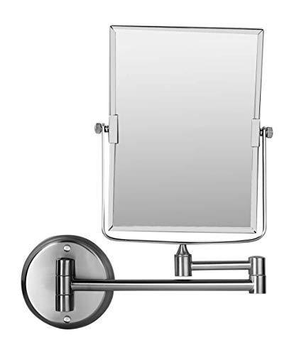 Ambrosya® | Exklusiver Kosmetikspiegel aus Edelstahl mit 3-facher Vergrößerung| Bad Badezimmer Lampe Ohne Licht LED Make-Up Schminkspiegel Spiegel Tischspiegel WC (Edelstahl (Gebürstet), 3X)