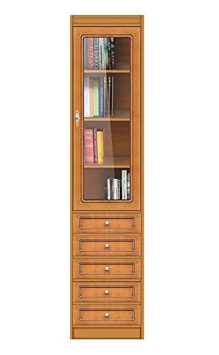 Arteferretto Meuble bibliothèque Haute avec 5 tiroirs et Porte vitrée, livré Entier