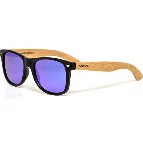 GOWOOD Gafas de sol de madera de bambú para hombre y mujer con frontal negro mate y lentes polarizadas azules de espejo
