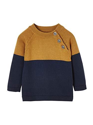 Vertbaudet Jungen Baby Pullover im Colorblock-Design camelfarben 86