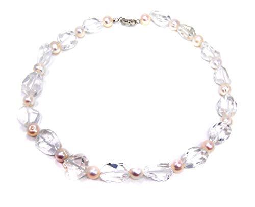 Halsschmuck Kette Collier Halskette aus Edelstein Bergkristall in unregelmäßiger Form mit Süsswasserperlen