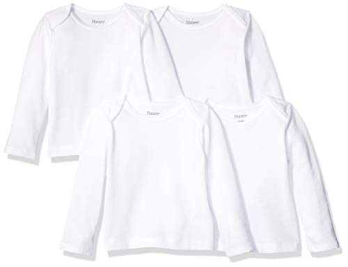 Hanes Ultimate Baby Flexy 4 Pack Long Sleeve Crew Tees, Diamond White, 12-18 Months