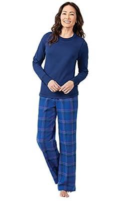 PajamaGram Womens Flannel Pajamas Soft - Ladies Flannel PJs, Indigo, L, 12-14 by PajamaGram