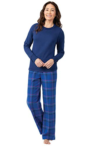 PajamaGram Womens Flannel Pajamas Soft - Ladies Flannel PJs, Indigo, L, 12-14