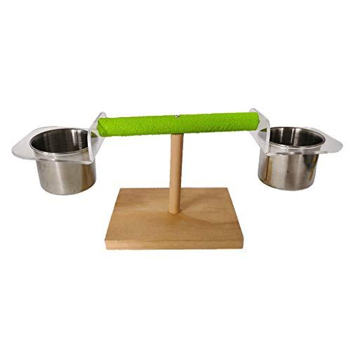luosh papegaaien Playstand hout baars met Feeder Cups Papegaai Tafel Perch Plank Kooi Accessoires Oefening Speelgoed