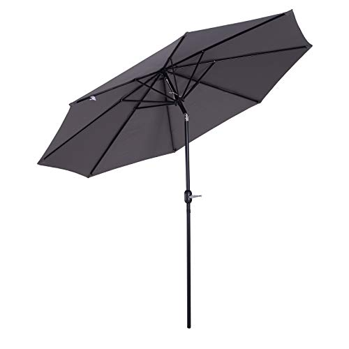 Outsunny Parasol en Aluminium Rond Polyester 180g/m² manivelle inclinable...