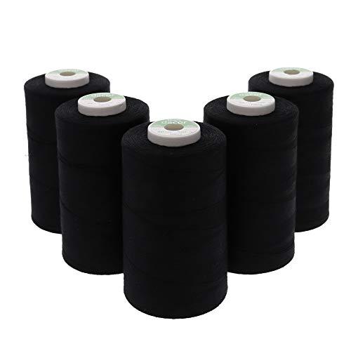 Sewfil dacor 120-5 conos de hilo de coser de poliéster - Pack de 5 bobinas (5 x 5.000 metros) - Negro