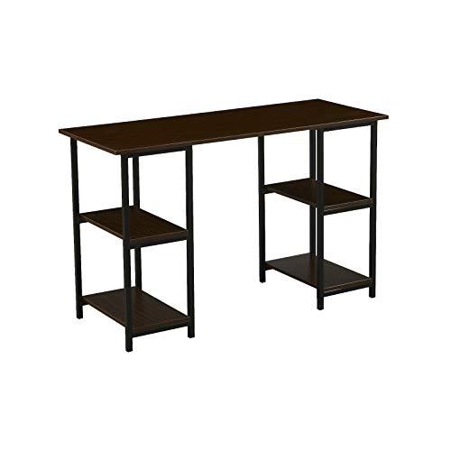 SVITA Studio Bürotisch mit Regal Nussbaum-Optik Schwarze Metall-Beine Schreibtisch Computertisch Arbeitstisch PC Tisch