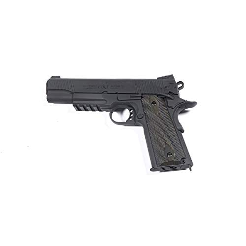 Softair Pistola Colt 1911 Rail Gun - Full Metal, Sparo Semi Automatico Colpo Singolo, Silenziatore, Caricatore 17 colpi, Blow Back 6 mm, Lunghezza 22 cm, Peso 976g, Potenza