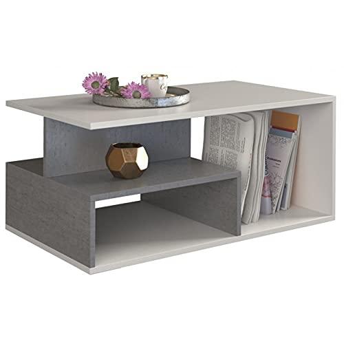 ADGO Prima - Mesa de café (90 x 51 x 43 cm, moderna y rectangular, pequeña mesa baja para salón, mesa con estantes y espacio de almacenamiento), diseño geométrico