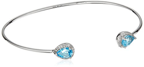 Sterling Silver Pear Swiss-Blue-Topaz Halo Diamond Accent Bangle Cuff Bracelet