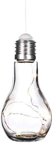 com-four® Deko Glühbirne mit LED Lichterkette zum Aufhängen und Hinstellen - batteriebetriebene Tischlampe für schönes Ambiente - kabellos (01 Stück - Glühbirne)