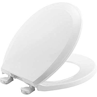 BEMIS 100EC 000 Toilet Seat with Easy Clean & Change Hinges, ROUND, Plastic, White