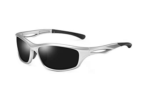 Skevic Polarisierte Sportbrille Sonnenbrille Herren und Damen TR90 Fahrradbrille mit UV400 Schutz - Radbrille für Autofahren Running Skifahren Fischen Radfahren Wandern Golf (Silber/Schwarz)